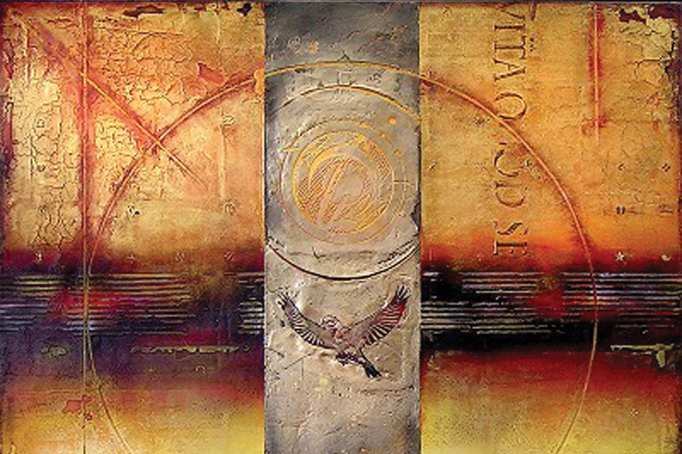 Flight Artifact by Cary Henrie in mixed media.