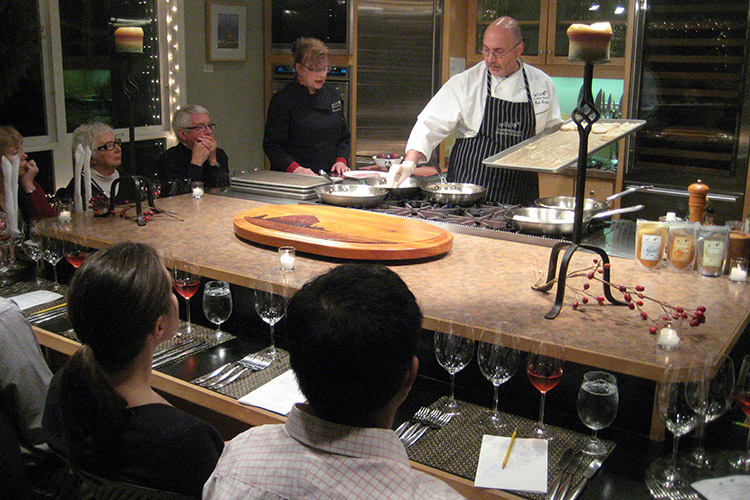Interactive demonstration dining at EVOO Cannon Beach Cooking School