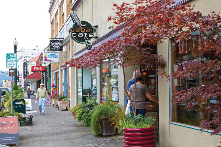 View of Commercial Street in downtown Astoria