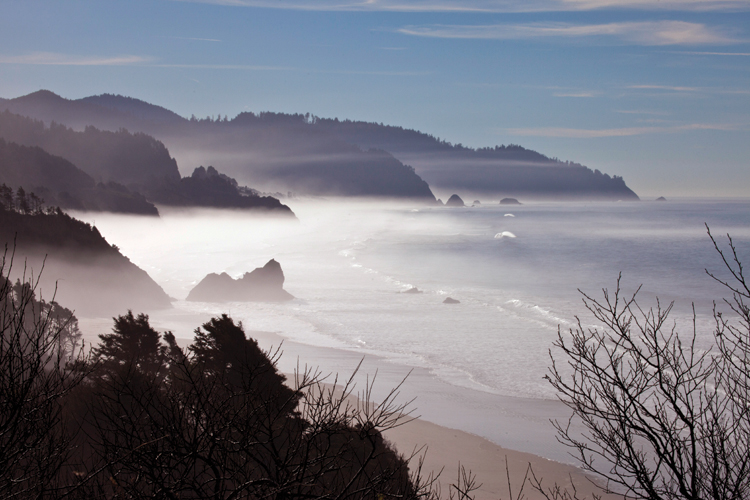 Arcadia Beach from viewpoint south of Cannon Beach, Oregon