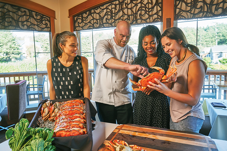 Stephanie Inn Executive Chef Aaron Bedard discusses Dungeness Crab with guests at one of the hotel's Sojourns culinary events.