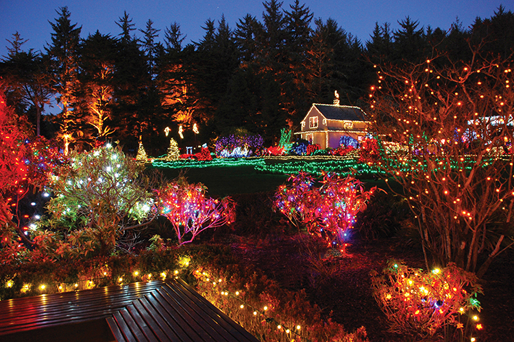 Holiday Lights at Shore Acres State Park on the Oregon Coast near Coos Bay
