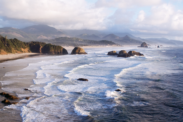 View of Haystack Rock and Cannon Beach from Ecola State Park.