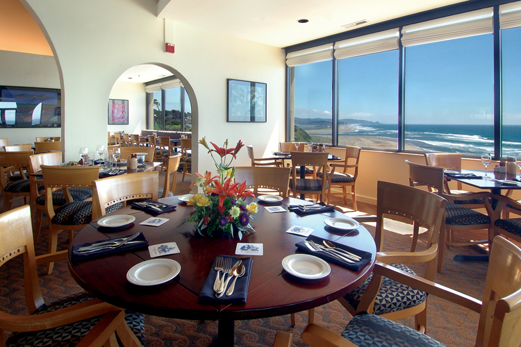 The oceanview dining room at Fathoms Restaurant is located on the top floor of the Inn at Spanish Head, ten stories above Lincoln City