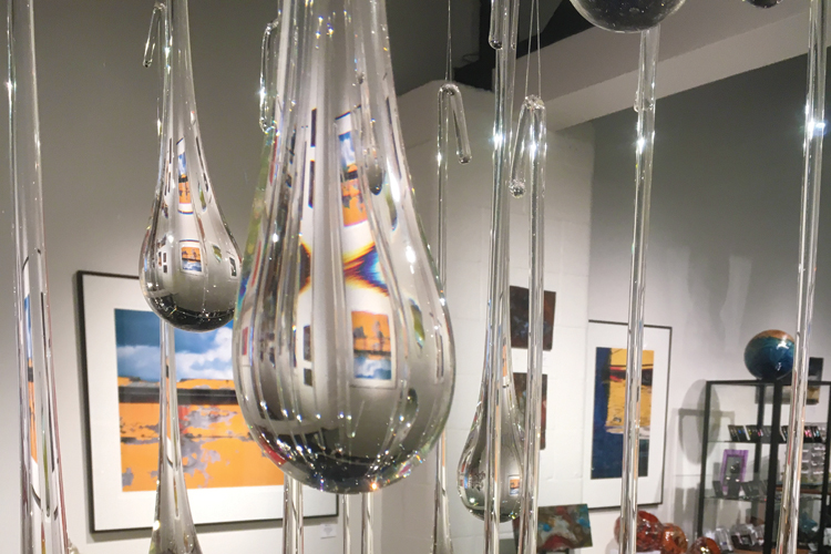 Glass Raindrops by artist Kelly Howard at Volta Gallery