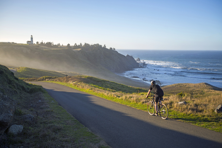 Pedaling toward Cape Blanco Lighthouse on the proposed Wild Rivers Scenic Bikeway near Port Orford