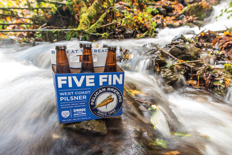 New pelican brewery five fin west coast pilsner for Cannon fish company
