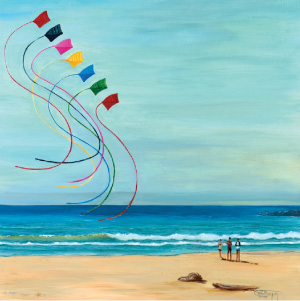 Kites on the Beach and More from Painter Carol Thompson at Primary Elements Gallery in Cannon Beach Image