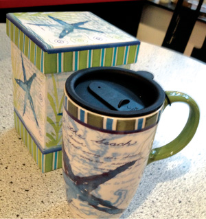 Caffe Latte in Seaside Features Line of Cypress Ceramic Travel Mugs