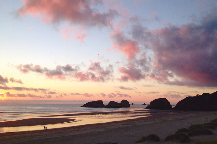 The beach and offshore rocks at Chapman Point in Cannon Beach, Oregon.