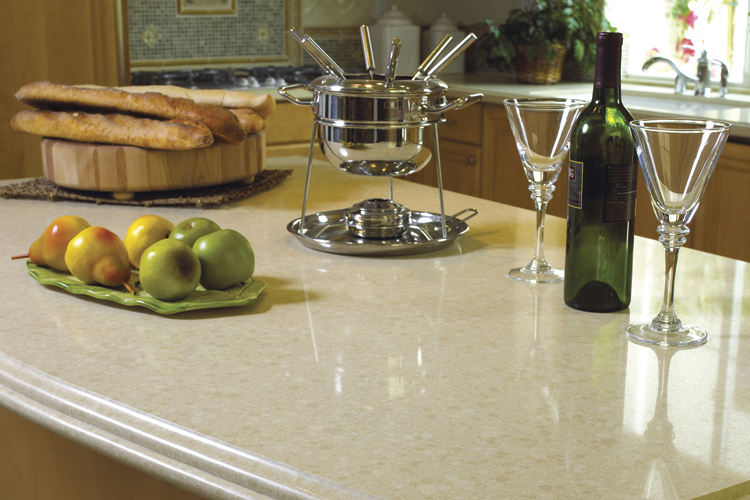 Quartz composite surfaces like Caesarstone uses quartz rubble left over from mining operations. It's versatile, durable, and comes in a wide range of colors and patterns.