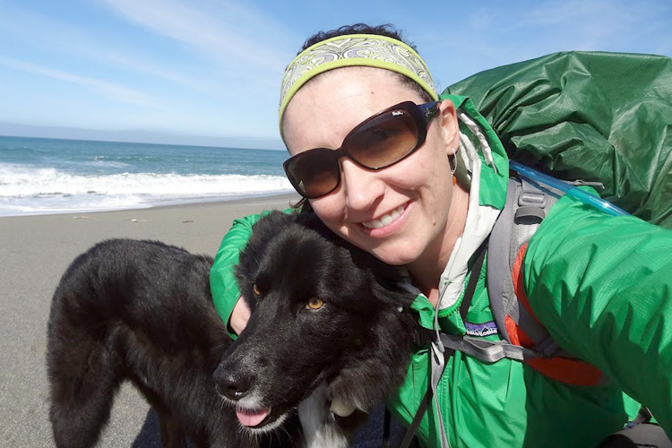 Audrey Jo and her hiking companion, Pepe.  Together, the pair completed the Oregon Coast Trail in three hikes.