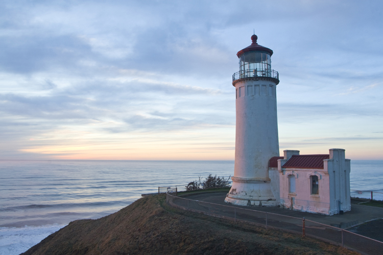 The North Head Lighthouse at Cape Disappointment State Park in Ilwaco, Washington.