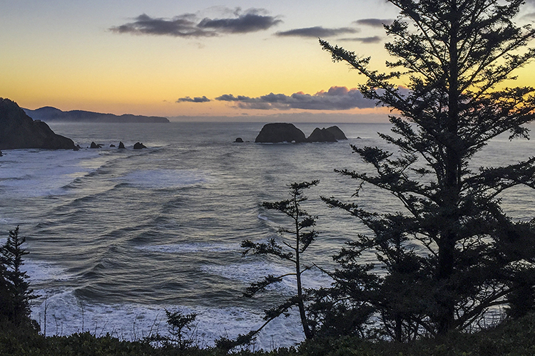 The view to the south from Cape Meares includes Three Arch Rocks and Cape Lookout.