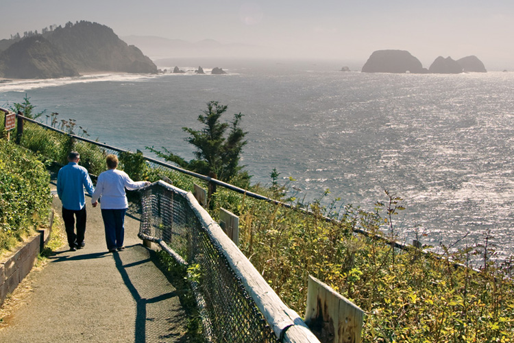The lighthouse trail at Cape Meares State Park with views of Maxwell Point and Three Arch Rocks