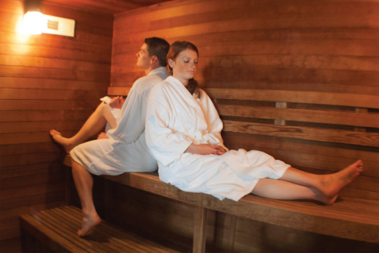 Hot sauna at Cannery Pier Spa in Astoria