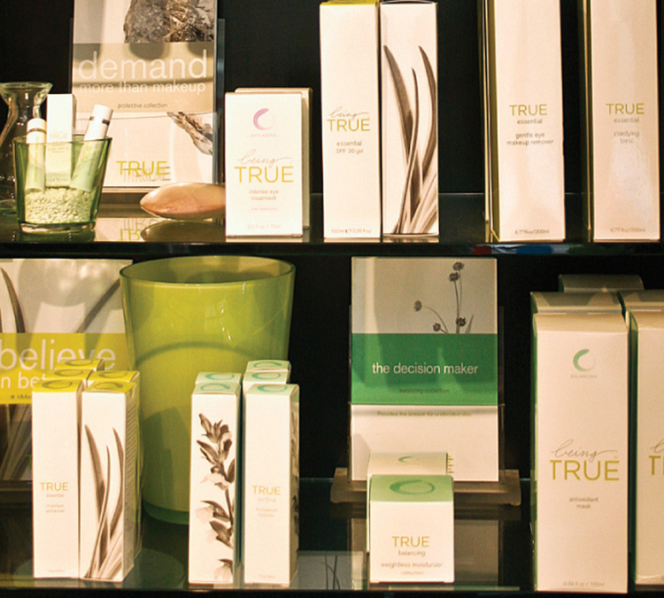 Soothing selection of professional spa products available at Spa Manzanita