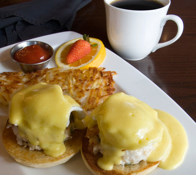 Crab Cake Benedict at the Wayfarer Restaurant.