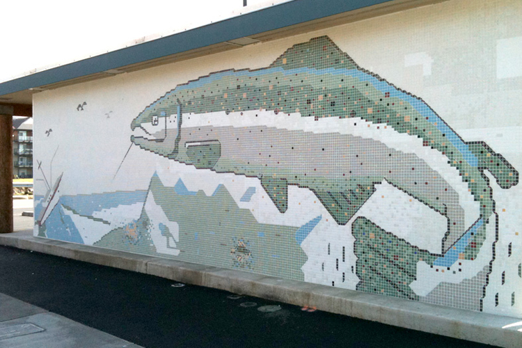 Salmon tile mosaic that was reconstructed after the original building from the 1960s was demolished.