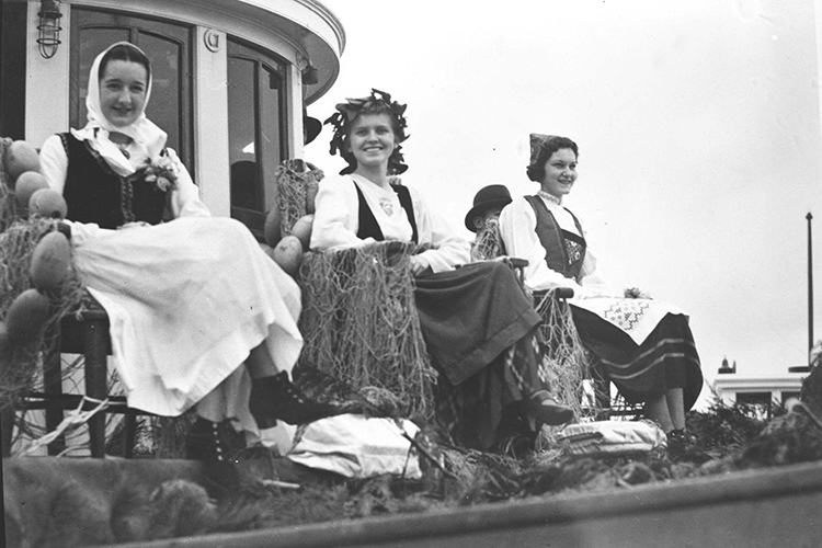 Circa 1930, A Scandinavian Festival with a Finnish Queen, Swedish and Norwegian Princesses in full costume