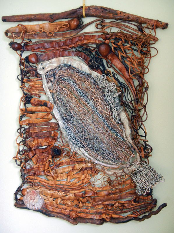 Ursula Diddl uses bits of driftwood, kelp, shells and other beachcombing finds to make her organic art.