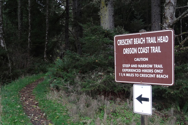 The trail head to Crescent Beach
