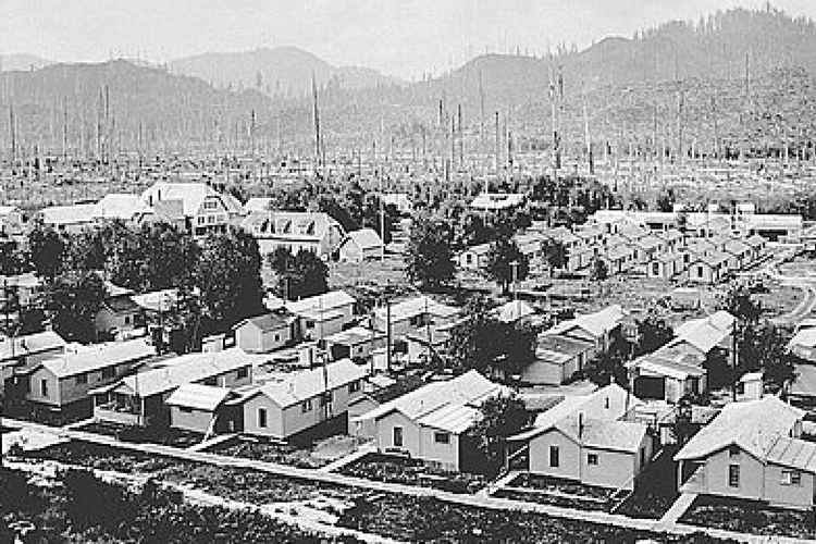 Panoramic view of Valsetz in 1928, a company-owned logging and sawmill town