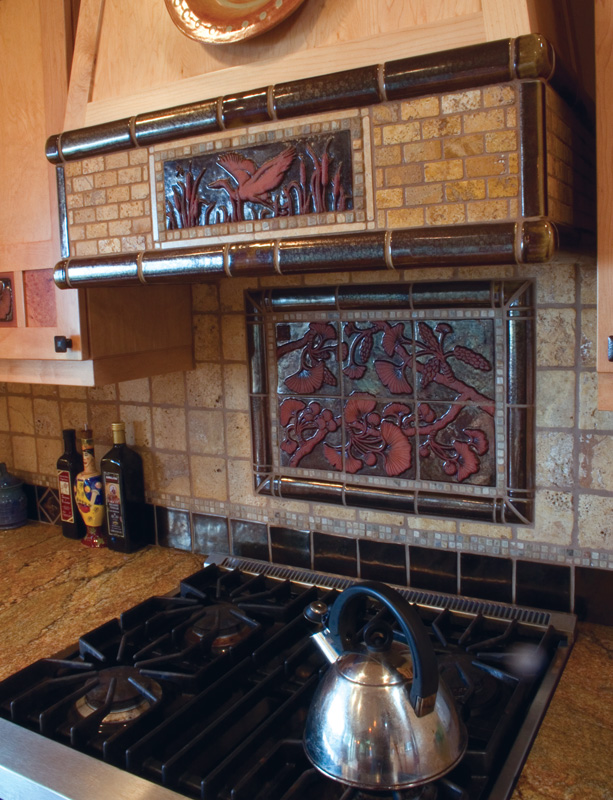 Custom tile work in this kitchen creates a strong statement and unique functional art piece. It helps when the home
