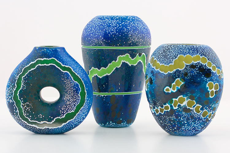 Mark Gordon's Strata Series of blown and cold-worked glass at Icefire Glassworks