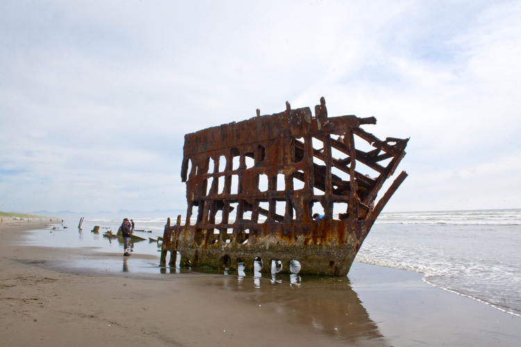 The 1906 Peter Iredale shipwreck is a popular attraction at Fort Stevens State Park on the North Oregon Coast.