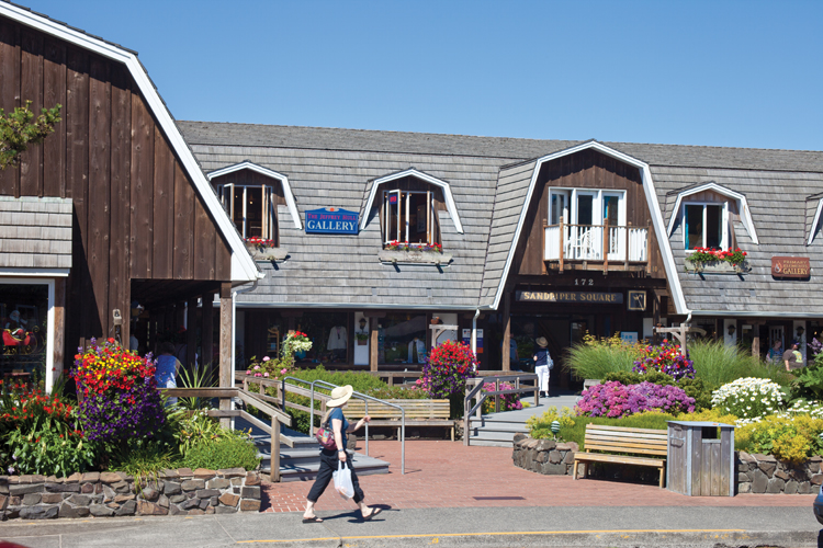 Shopping, galleries and cafes invite explorers down village paths, into colorful courtyards and public squares in the quaint downtown center of Cannon Beach.
